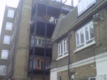 Tower Hamlets staircase before painting